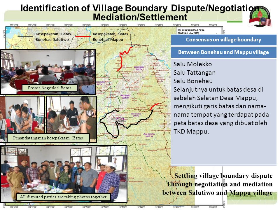 Identification of Village Boundary Dispute/Negotiation Mediation/Settlement Settling village boundary dispute Through negotiation and mediation betwee