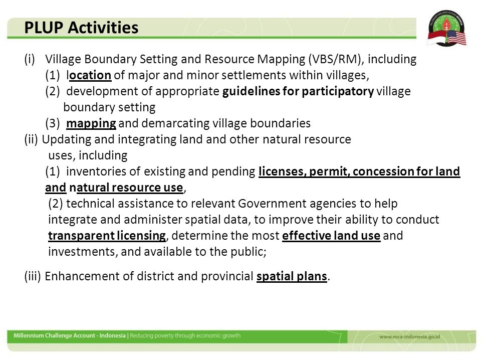 (i)Village Boundary Setting and Resource Mapping (VBS/RM), including (1) location of major and minor settlements within villages, (2) development of a