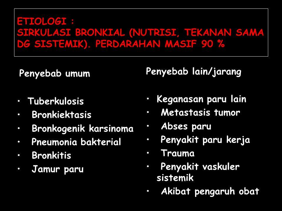 ETIOLOGI : SIRKULASI BRONKIAL (NUTRISI, TEKANAN SAMA DG SISTEMIK). PERDARAHAN MASIF 90 % Penyebab umum Tuberkulosis Bronkiektasis Bronkogenik karsinom