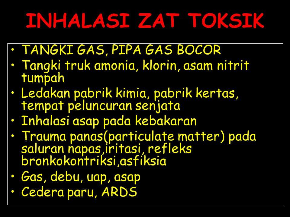 TANGKI GAS, PIPA GAS BOCOR Tangki truk amonia, klorin, asam nitrit tumpah Ledakan pabrik kimia, pabrik kertas, tempat peluncuran senjata Inhalasi asap