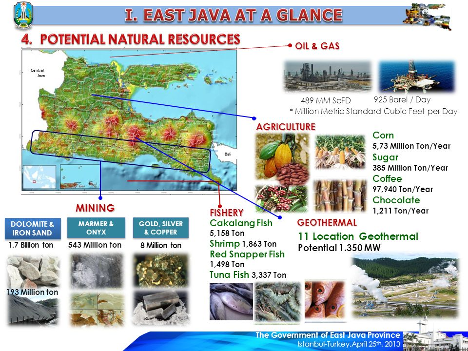 Central Java Bali 1.7 Billion ton DOLOMITE & IRON SAND DOLOMITE & IRON SAND 543 Million ton MARMER & ONYX Corn 5,73 Million Ton/Year Sugar 385 Million Ton/Year Coffee 97,940 Ton/Year Chocolate 1,211 Ton/Year 8 Million ton GOLD, SILVER & COPPER Cakalang FIsh 5,158 Ton Shrimp 1,863 Ton Red Snapper Fish 1,498 Ton Tuna Fish 3,337 Ton 489 MM ScFD 925 Barel / Day 193 Million ton 11 Location Geothermal Potential 1.350 MW * Million Metric Standard Cubic Feet per Day MINING FISHERY GEOTHERMAL AGRICULTURE OIL & GAS The Government of East Java Province Istanbul-Turkey,April 25 th, 2013