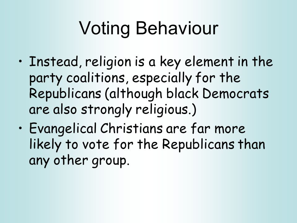 Voting Behaviour By European standards, both the Democrats and Republicans are remarkably similar in their ideology - or lack of it.