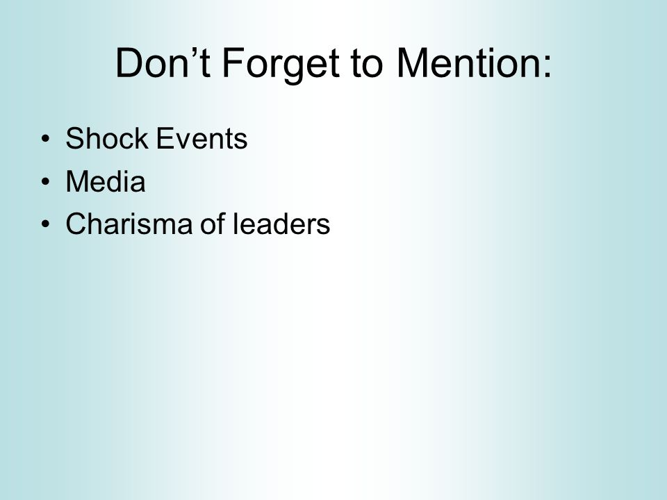 Don't Forget to Mention: Shock Events Media Charisma of leaders