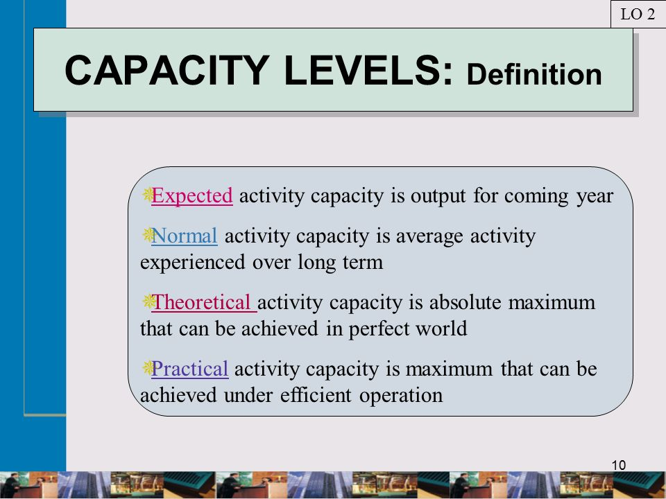10 CAPACITY LEVELS: Definition  Expected activity capacity is output for coming year  Normal activity capacity is average activity experienced over long term  Theoretical activity capacity is absolute maximum that can be achieved in perfect world  Practical activity capacity is maximum that can be achieved under efficient operation LO 2