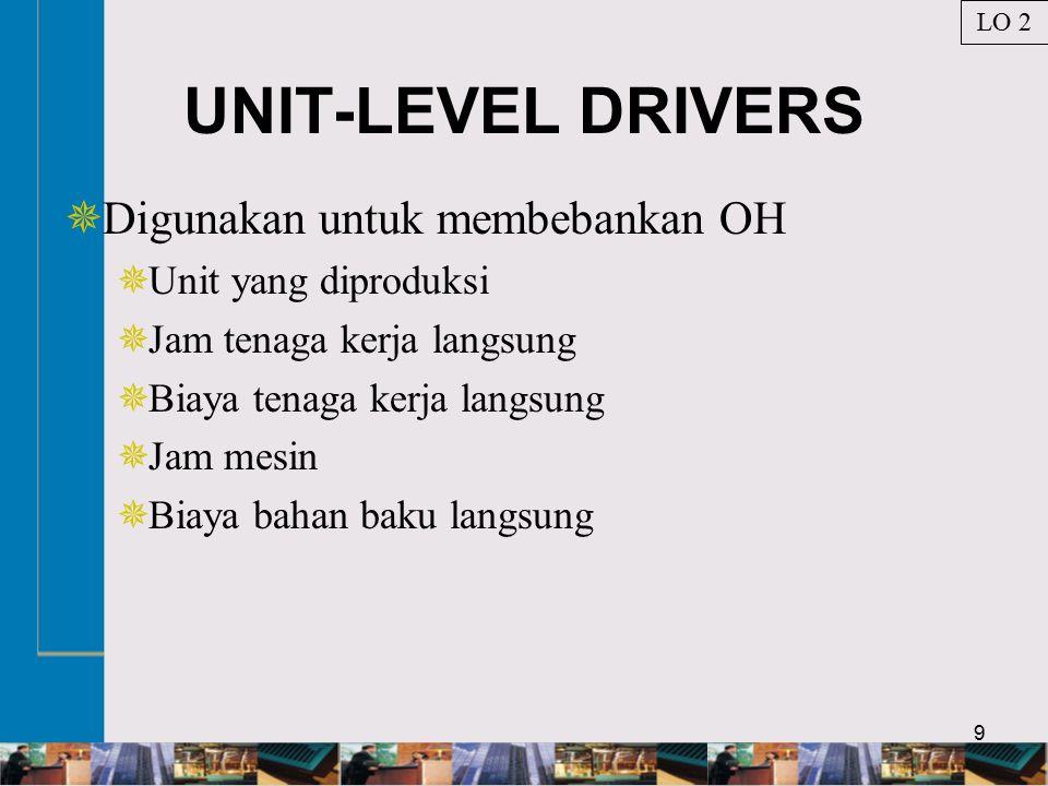 9 UNIT-LEVEL DRIVERS  Digunakan untuk membebankan OH  Unit yang diproduksi  Jam tenaga kerja langsung  Biaya tenaga kerja langsung  Jam mesin  Biaya bahan baku langsung LO 2
