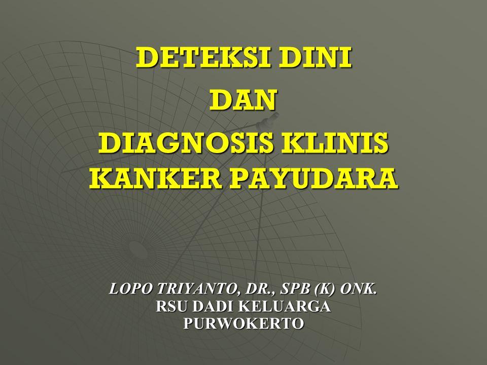 LOPO TRIYANTO, DR., SPB (K) ONK. RSU DADI KELUARGA PURWOKERTO DETEKSI DINI DAN DIAGNOSIS KLINIS KANKER PAYUDARA