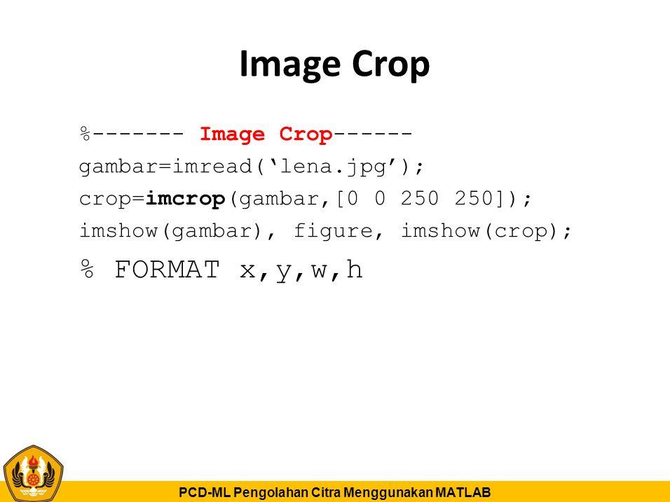 PCD-ML Pengolahan Citra Menggunakan MATLAB Image Crop %------- Image Crop------ gambar=imread('lena.jpg'); crop=imcrop(gambar,[0 0 250 250]); imshow(g