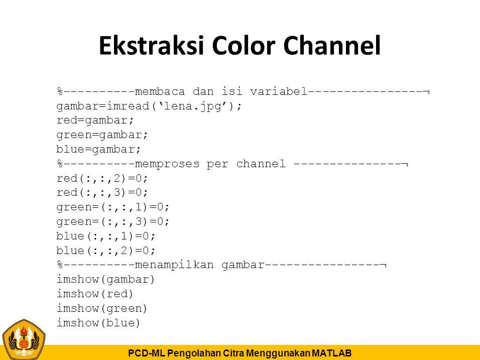 PCD-ML Pengolahan Citra Menggunakan MATLAB Ekstraksi Color Channel %----------membaca dan isi variabel----------------¬ gambar=imread('lena.jpg'); red
