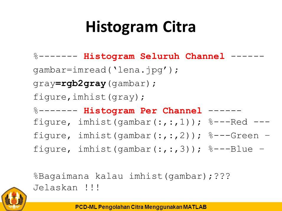 PCD-ML Pengolahan Citra Menggunakan MATLAB Histogram Citra %------- Histogram Seluruh Channel ------ gambar=imread('lena.jpg'); gray=rgb2gray(gambar);