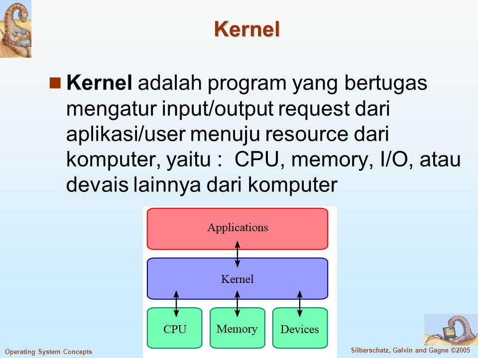 1.8 Silberschatz, Galvin and Gagne ©2005 Operating System Concepts Definisi Operating System (Cont.) Tidak ada definisi yang pasti mengenai sistem operasi Tiap sistem operasi bergantung pada pembuat sistem operasi tersebut Akibatnya, sistem operasi bervariasi Program yang terus beroperasi pada hardware komputer disebut kernel.