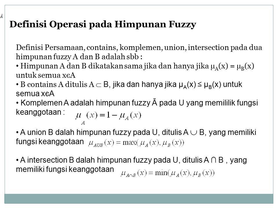 Definisi Operasi pada Himpunan Fuzzy Definisi Persamaan, contains, komplemen, union, intersection pada dua himpunan fuzzy A dan B adalah sbb : Himpunan A dan B dikatakan sama jika dan hanya jika µ A (x) = µ B (x) untuk semua xєA B contains A ditulis A  B, jika dan hanya jika µ A (x) ≤ µ B (x) untuk semua xєA Komplemen A adalah himpunan fuzzy Ā pada U yang memililik fungsi keanggotaan : A union B dalah himpunan fuzzy pada U, ditulis A  B, yang memiliki fungsi keanggotaan A intersection B dalah himpunan fuzzy pada U, ditulis A ∩ B, yang memiliki fungsi keanggotaan