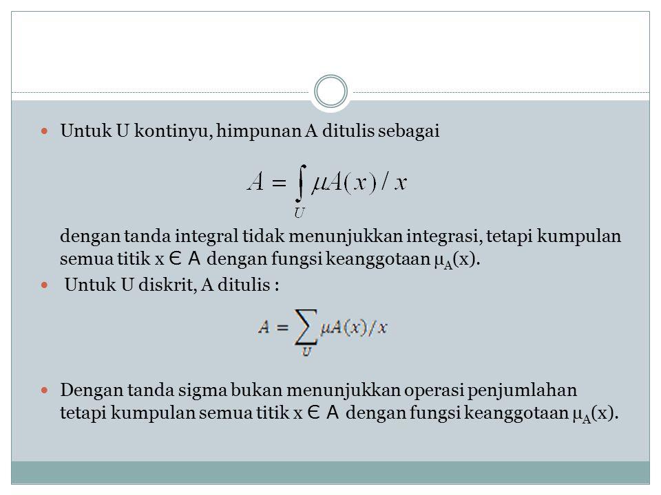 Untuk U kontinyu, himpunan A ditulis sebagai dengan tanda integral tidak menunjukkan integrasi, tetapi kumpulan semua titik x Є A dengan fungsi keanggotaan µ A (x).