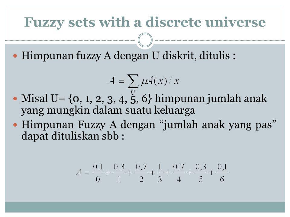 Fuzzy sets with a discrete universe Himpunan fuzzy A dengan U diskrit, ditulis : Misal U= {0, 1, 2, 3, 4, 5, 6} himpunan jumlah anak yang mungkin dalam suatu keluarga Himpunan Fuzzy A dengan jumlah anak yang pas dapat dituliskan sbb :