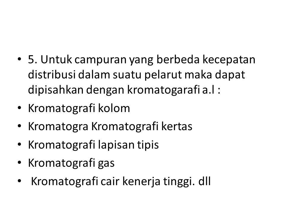 5. Untuk campuran yang berbeda kecepatan distribusi dalam suatu pelarut maka dapat dipisahkan dengan kromatogarafi a.l : Kromatografi kolom Kromatogra