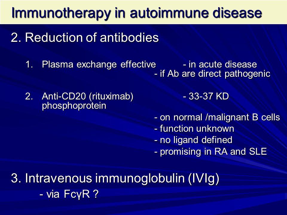 Immunotherapy in autoimmune disease Immunotherapy in autoimmune disease 2. Reduction of antibodies 1.Plasma exchange effective - in acute disease - if