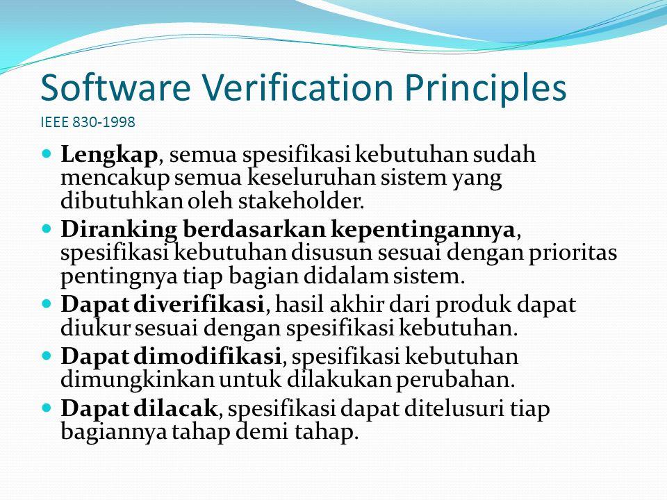 Software Verification Principles IEEE 830-1998 Lengkap, semua spesifikasi kebutuhan sudah mencakup semua keseluruhan sistem yang dibutuhkan oleh stakeholder.