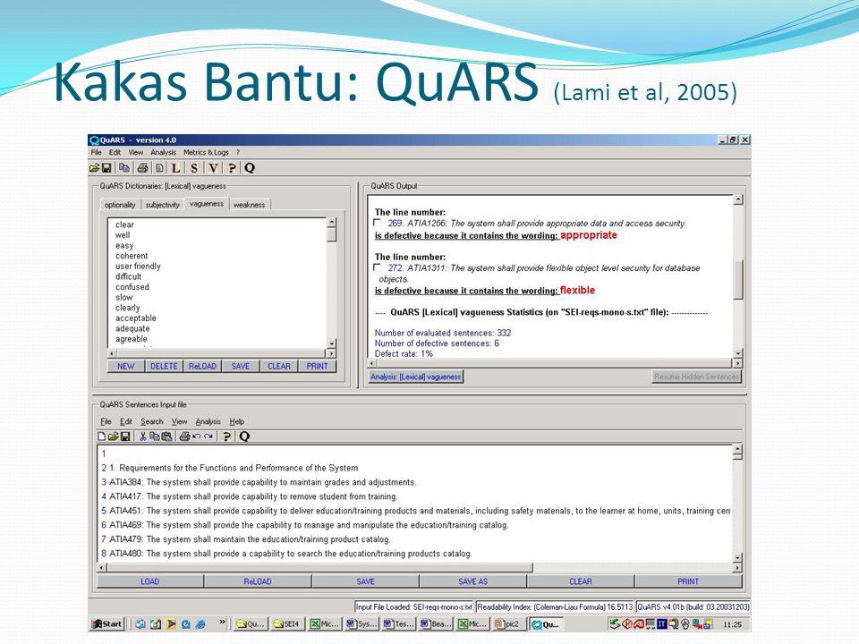 Kakas Bantu: QuARS (Lami et al, 2005)