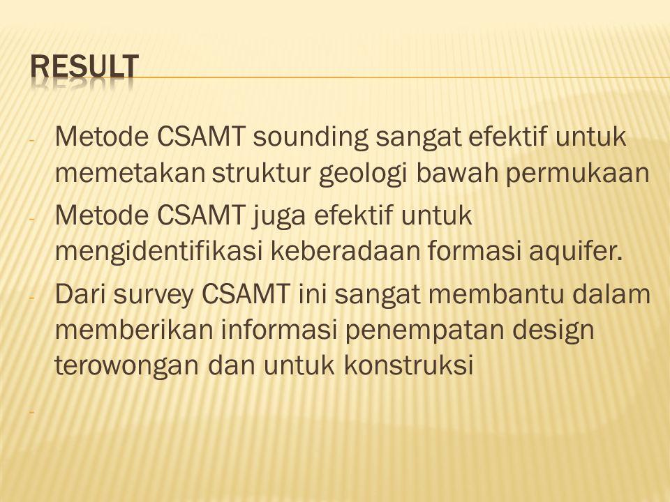 - Metode CSAMT sounding sangat efektif untuk memetakan struktur geologi bawah permukaan - Metode CSAMT juga efektif untuk mengidentifikasi keberadaan formasi aquifer.