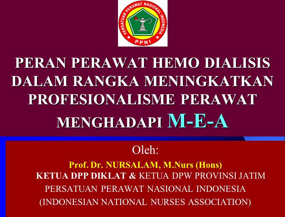 PERAN PERAWAT HEMO DIALISIS DALAM RANGKA MENINGKATKAN PROFESIONALISME PERAWAT MENGHADAPI M-E-A Oleh: Prof.
