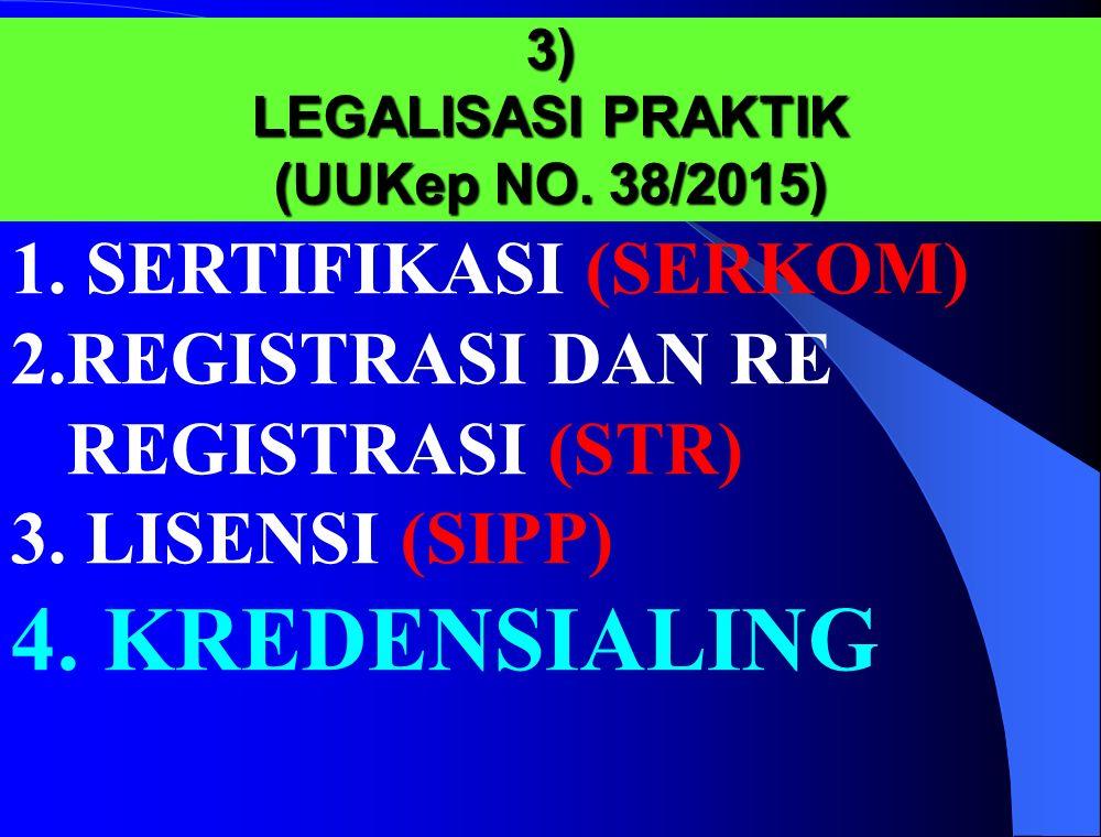3) LEGALISASI PRAKTIK (UUKep NO. 38/2015) 1.