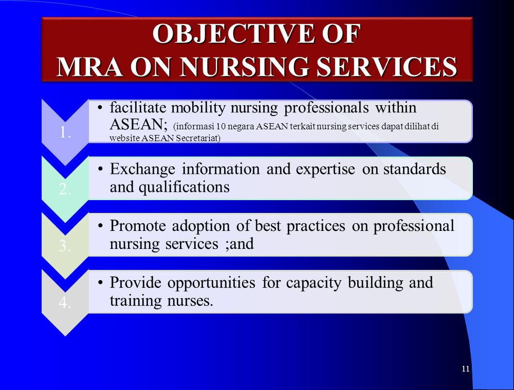 OBJECTIVE OF MRA ON NURSING SERVICES 11