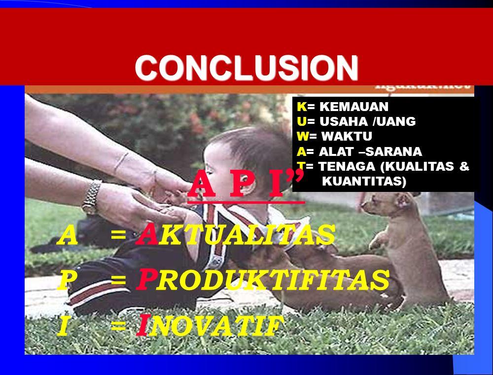 CONCLUSION CONCLUSION K= KEMAUAN U= USAHA /UANG W= WAKTU A= ALAT –SARANA T= TENAGA (KUALITAS & KUANTITAS) A P I A= A KTUALITAS P= P RODUKTIFITAS I= I NOVATIF