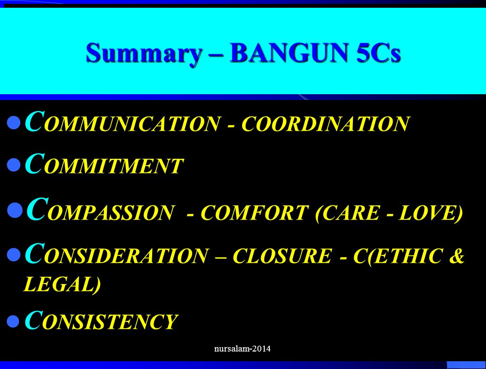 Summary – BANGUN 5Cs C OMMUNICATION - COORDINATION C OMMITMENT C OMPASSION - COMFORT (CARE - LOVE) C ONSIDERATION – CLOSURE - C(ETHIC & LEGAL) C ONSIS