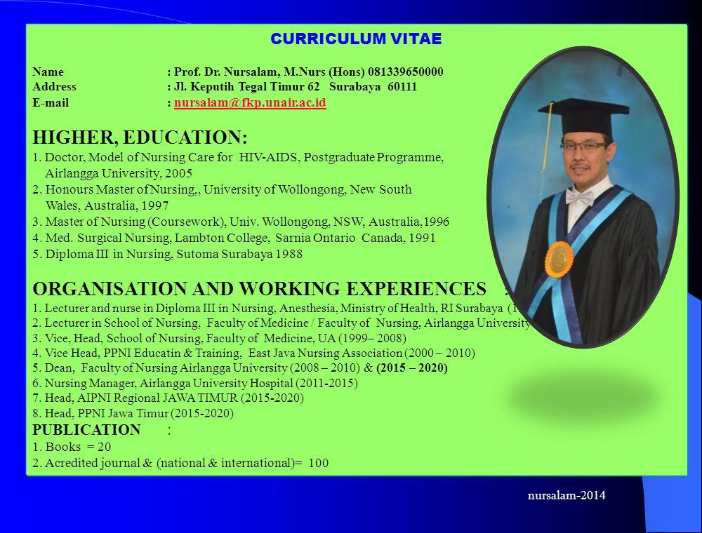 CURRICULUM VITAE Name: Prof. Dr. Nursalam, M.Nurs (Hons) 081339650000 Address: Jl.