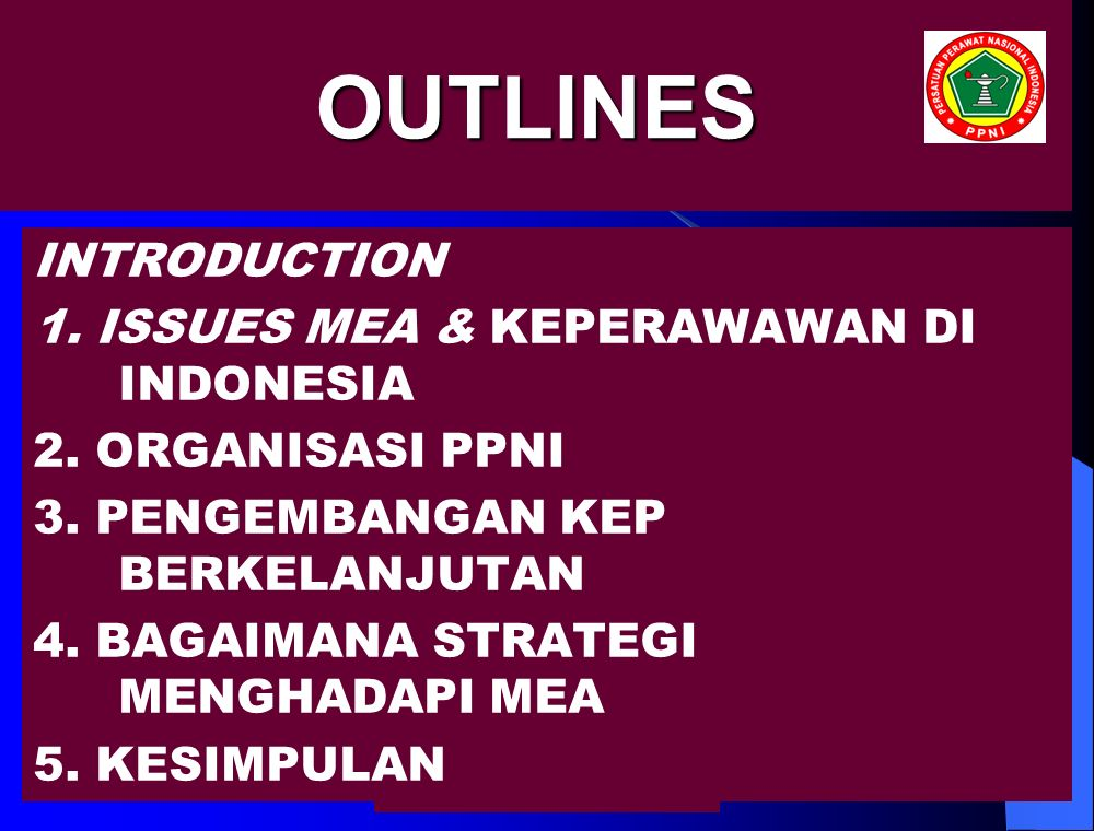 nursalam -2006OUTLINES INTRODUCTION 1. ISSUES MEA & KEPERAWAWAN DI INDONESIA 2.