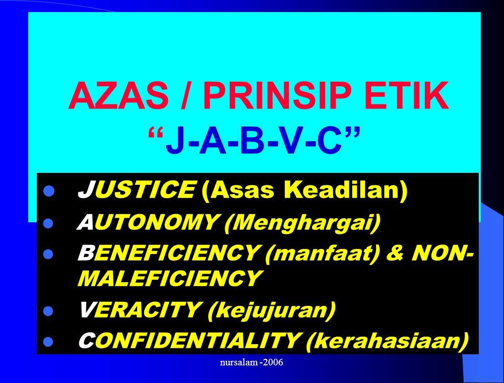 nursalam -2006 AZAS / PRINSIP ETIK J-A-B-V-C JUSTICE (Asas Keadilan) AUTONOMY (Menghargai) BENEFICIENCY (manfaat) & NON- MALEFICIENCY VERACITY (kejujuran) CONFIDENTIALITY (kerahasiaan)