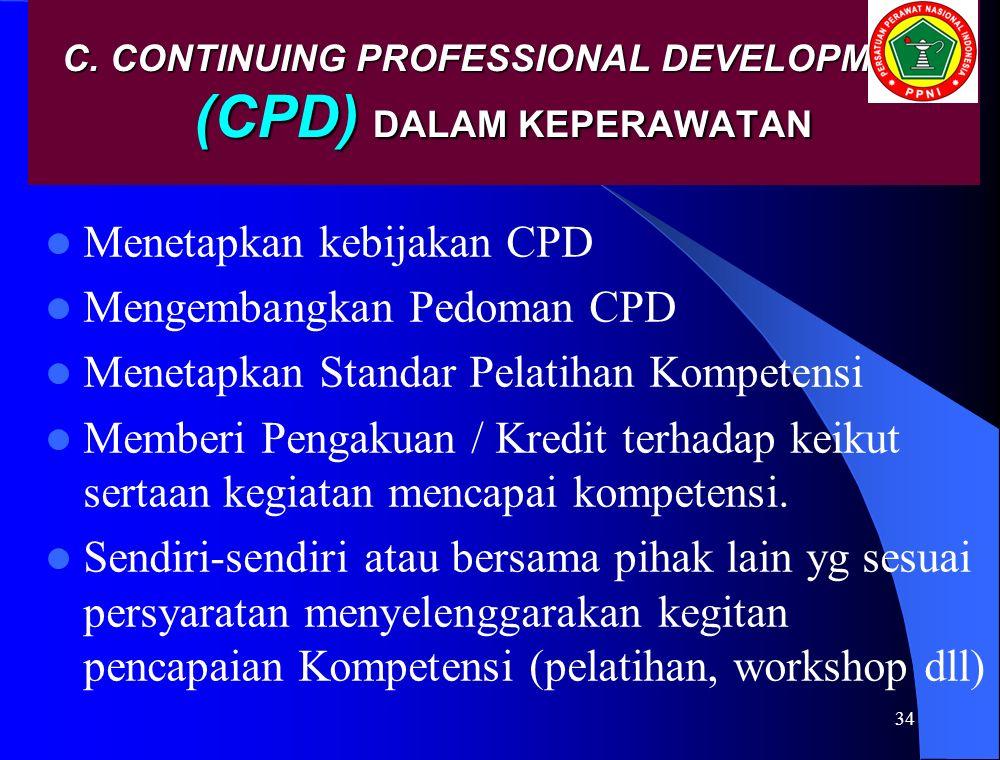 C. CONTINUING PROFESSIONAL DEVELOPMENT (CPD) DALAM KEPERAWATAN Menetapkan kebijakan CPD Mengembangkan Pedoman CPD Menetapkan Standar Pelatihan Kompete