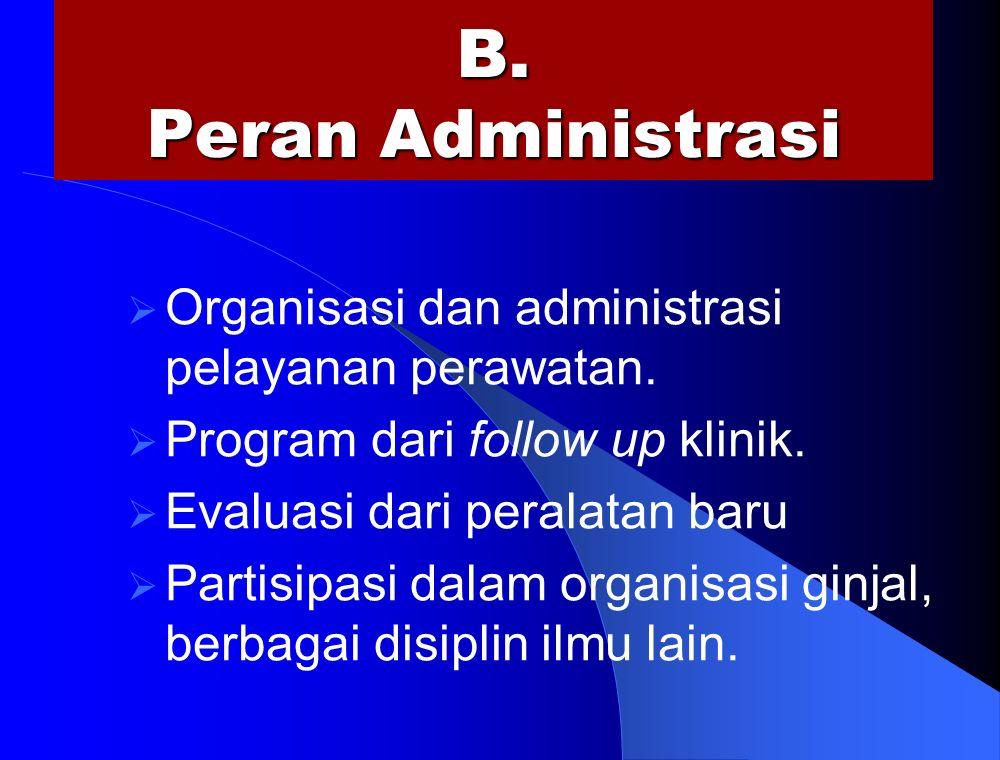B. Peran Administrasi  Organisasi dan administrasi pelayanan perawatan.