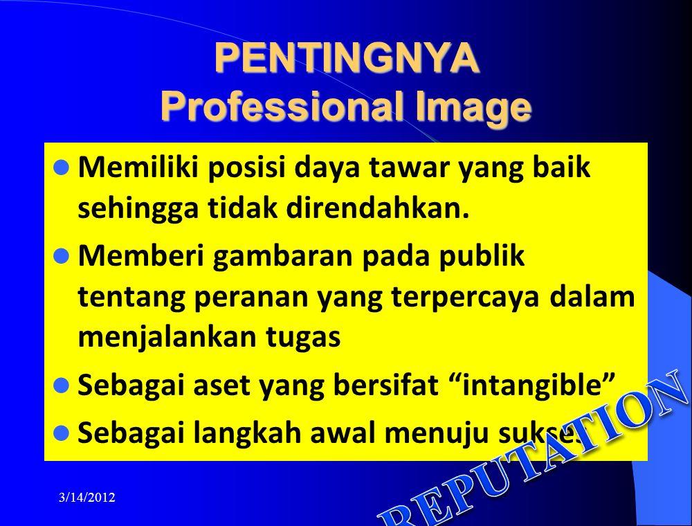 PENTINGNYA Professional Image Memiliki posisi daya tawar yang baik sehingga tidak direndahkan.