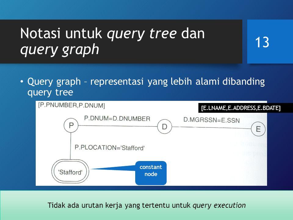 Notasi untuk query tree dan query graph Query graph – representasi yang lebih alami dibanding query tree 13 [E.LNAME,E.ADDRESS,E.BDATE] relatio n node constant node Tidak ada urutan kerja yang tertentu untuk query execution
