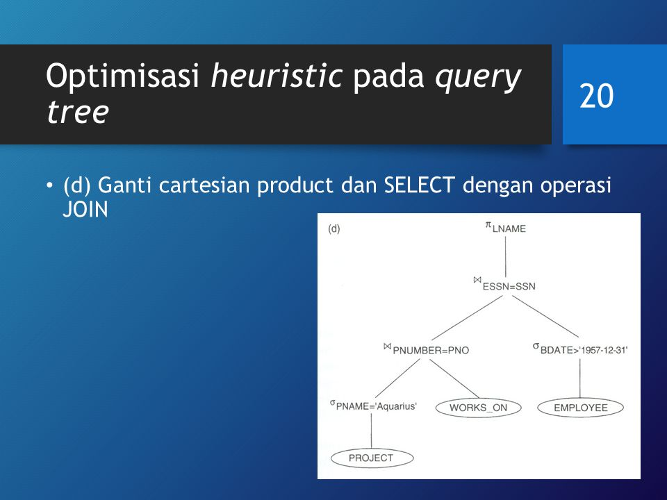 Optimisasi heuristic pada query tree (d) Ganti cartesian product dan SELECT dengan operasi JOIN 20