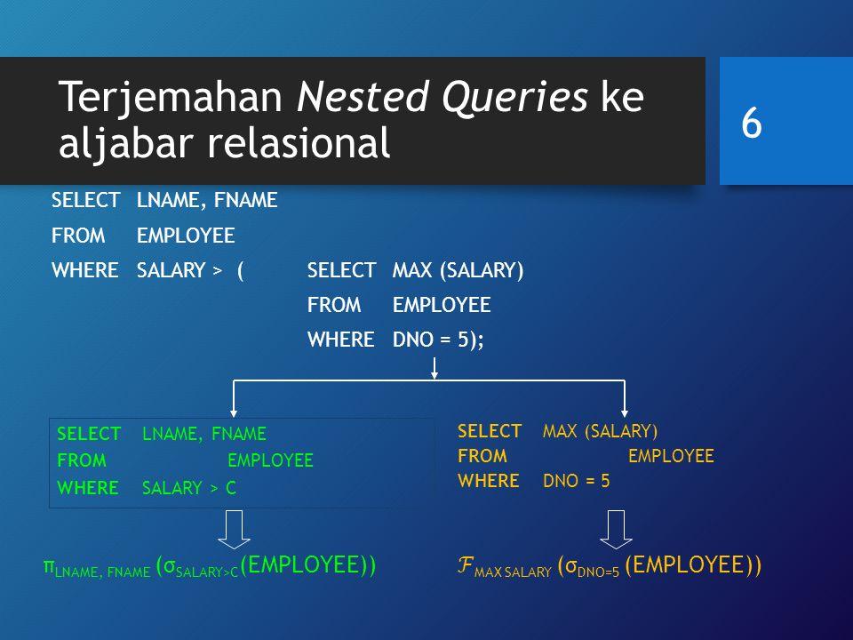 17 Optimisasi heuristic pada query tree (a) Initial (canonical) query tree untuk SQL query Q Menghasilkan file yang sangat besar berisi cartesian product dari seluruh file EMPLOYEE, WORKS_ON dan PROJECT