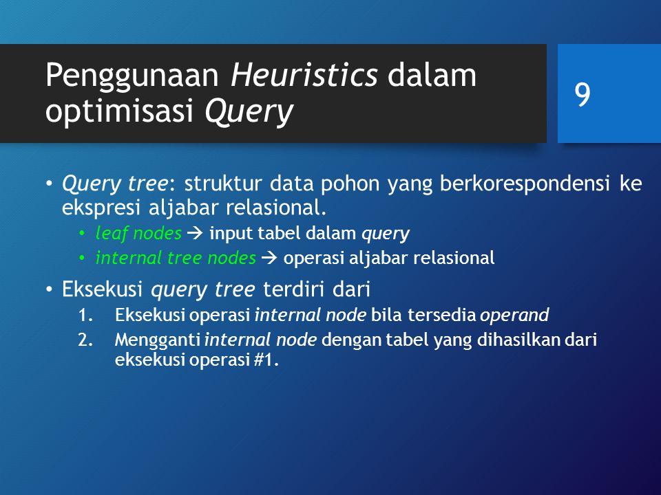 Penggunaan Heuristics dalam optimisasi Query Contoh Q1: temukan nomor proyek, kode departemen, serta nama keluarga, alamat dan tanggal lahir manager dari departemen yang mengendalikan proyek ybs, untuk semua proyek bertempat di 'Stafford' 10