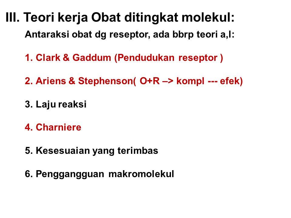 Antaraksi obat dg reseptor, ada bbrp teori a,l: 1.Clark & Gaddum (Pendudukan reseptor ) 2.Ariens & Stephenson( O+R –> kompl --- efek) 3.Laju reaksi 4.Charniere 5.Kesesuaian yang terimbas 6.Penggangguan makromolekul III.