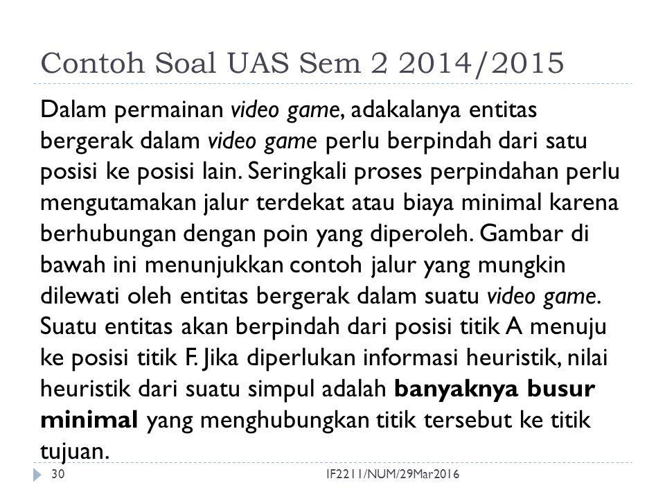 Contoh Soal UAS Sem 2 2014/2015 (2) 31  Pencarian solusi dengan: a.
