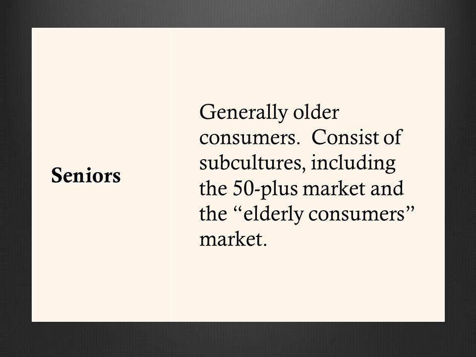 Seniors Generally older consumers.