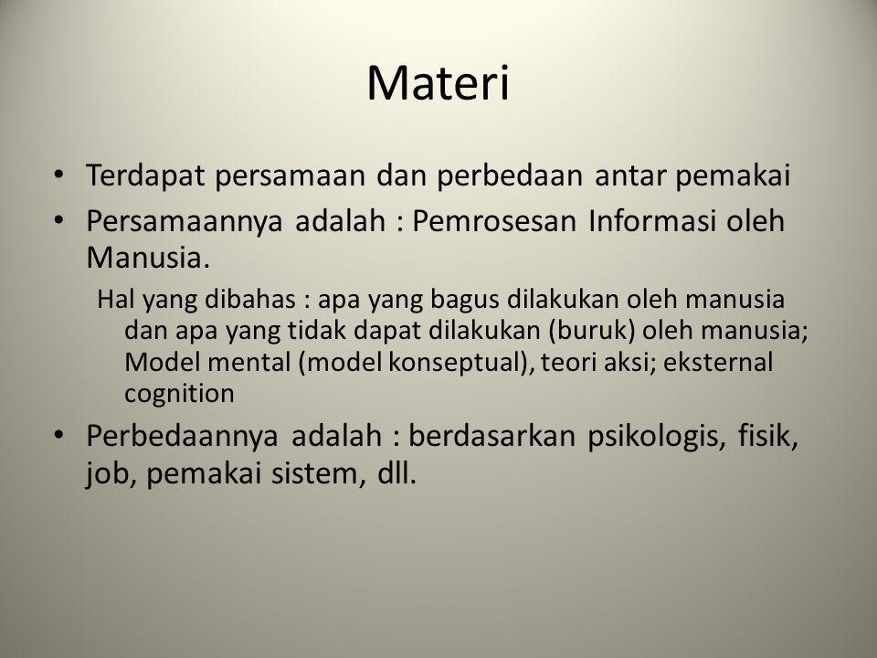 Materi Terdapat persamaan dan perbedaan antar pemakai Persamaannya adalah : Pemrosesan Informasi oleh Manusia. Hal yang dibahas : apa yang bagus dilak