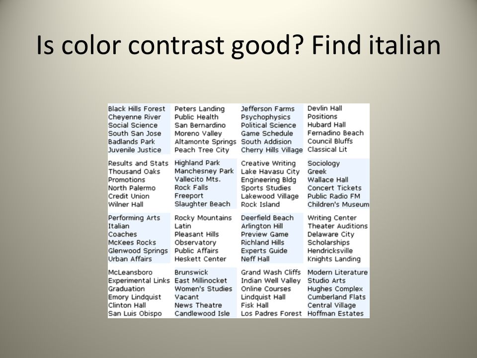 Is color contrast good? Find italian