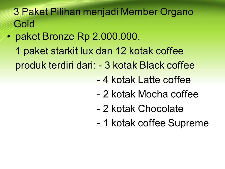 3 Paket Pilihan menjadi Member Organo Gold paket Bronze Rp 2.000.000.