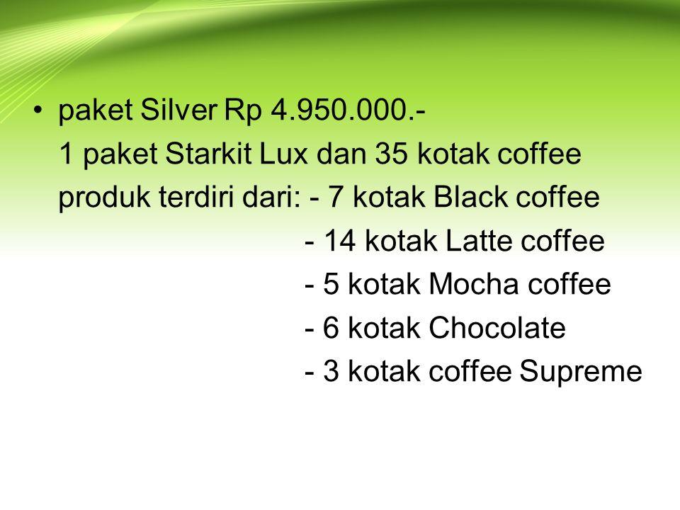 paket Silver Rp 4.950.000.- 1 paket Starkit Lux dan 35 kotak coffee produk terdiri dari: - 7 kotak Black coffee - 14 kotak Latte coffee - 5 kotak Mocha coffee - 6 kotak Chocolate - 3 kotak coffee Supreme