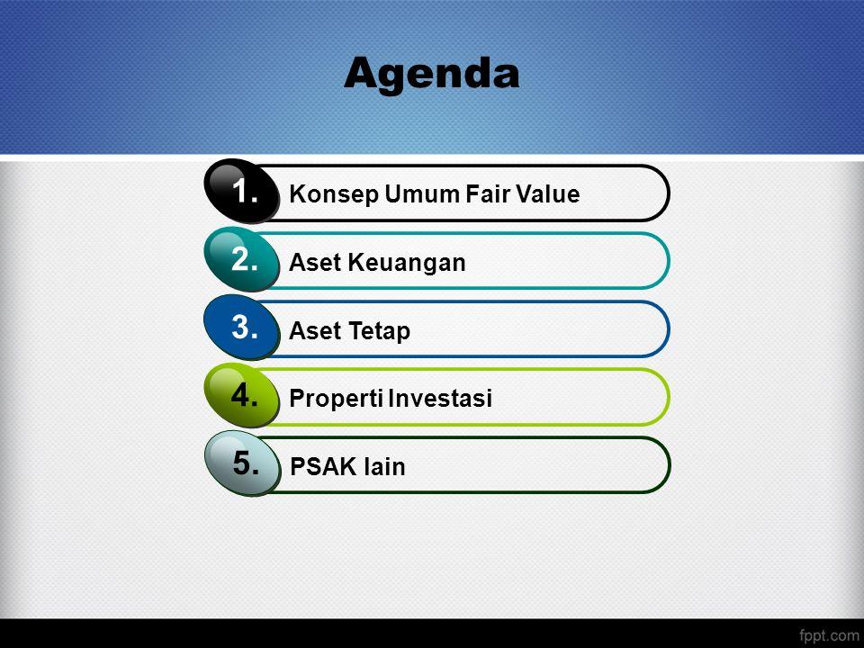 Agenda Konsep Umum Fair Value 1. Aset Keuangan 2. Aset Tetap 3. Properti Investasi 4. PSAK lain 5.