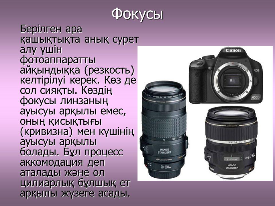 Фокусы Берілген ара қашықтықта анық сурет алу үшін фотоаппаратты айқындыққа (резкость) келтірілуі керек.