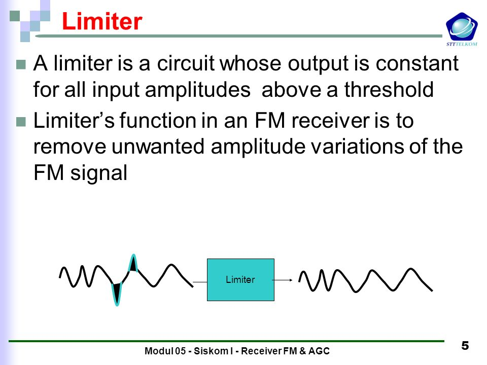 5 Limiter A limiter is a circuit whose output is constant for all input amplitudes above a threshold Limiter's function in an FM receiver is to remove unwanted amplitude variations of the FM signal Limiter