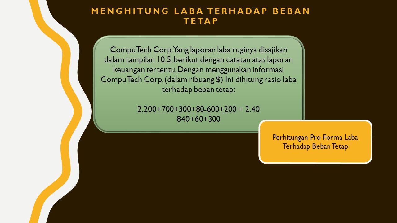 CompuTech Corp. Yang laporan laba ruginya disajikan dalam tampilan 10.5, berikut dengan catatan atas laporan keuangan tertentu. Dengan menggunakan inf