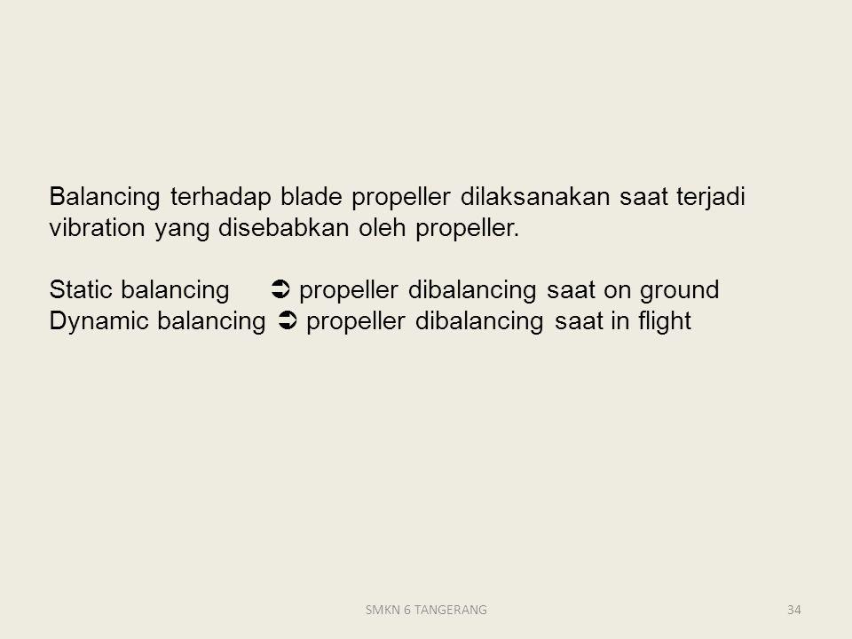 Balancing terhadap blade propeller dilaksanakan saat terjadi vibration yang disebabkan oleh propeller.