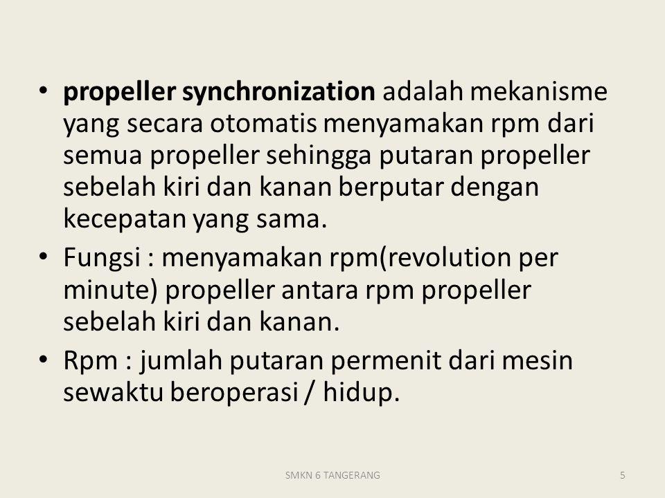 propeller synchronization adalah mekanisme yang secara otomatis menyamakan rpm dari semua propeller sehingga putaran propeller sebelah kiri dan kanan berputar dengan kecepatan yang sama.